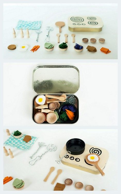 DIY Miniature Kids Kitchen Play Set Tutorial from Made By Joel here.Really practical because everything just fits into the oventop/Altoids ...