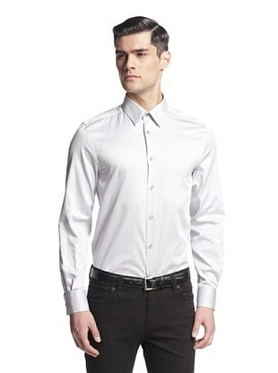71% OFF Versace Collection Men's Solid Woven Shirt (Grey)