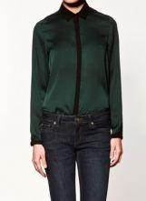 Green Lapel Long Sleeve Single Breasted Loose Chiffon Shirt $30.24