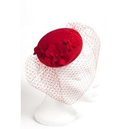Red Floral Fascinator Hat