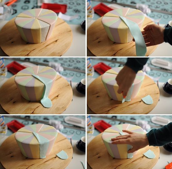 Cake Decorating Techniques Uk : How to do fondant stripes Cake technics Pinterest ...