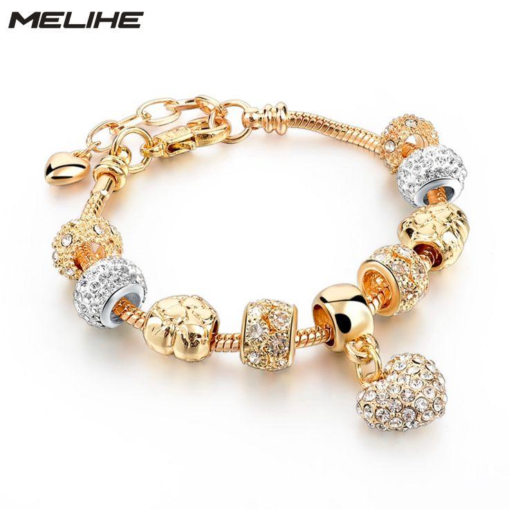 MELIHE Crystal Heart Charm Bracelet For Women Gold Bracelets Bangles Female Jewelry SBR160059 //Price: $20.00 & FREE Shipping //     #hashtag1