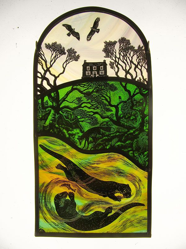 """""""Otter House"""" by stained glass artist Tamsin Abbott"""