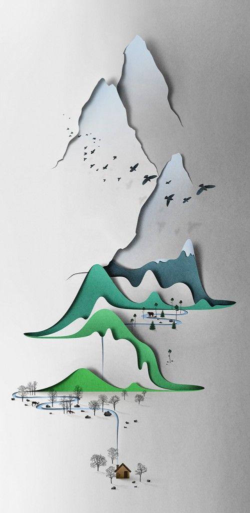 Les paysages d'Eiko Ojala ont la particularité d'être verticaux et réalisés dans le papier. Un travail minutieux qui nous incite à découvrir les détails de l'assemblage des couches successives de papier pour former les différents plans de la scène.