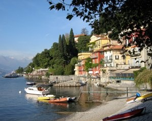 Varenna is located on Lake Como and with the great ferry connections around the lake provides an excellent base for hiking Italy. Mountains with excellent trails surround both sides of the lake and Switzerland can be seen in the distance.