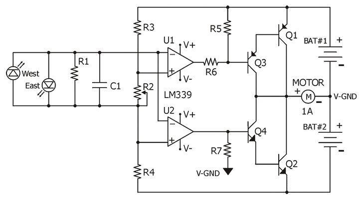 Circuit diagram for the LM339 quad comparator based sun