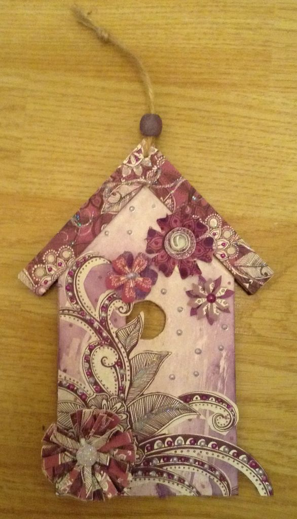 Birdhouse plaque.....decorated with Craftwork Cards Velvet Plum papers, Orchid & Lavender Lace Liquid Pearls, & Star Dust Stickles.