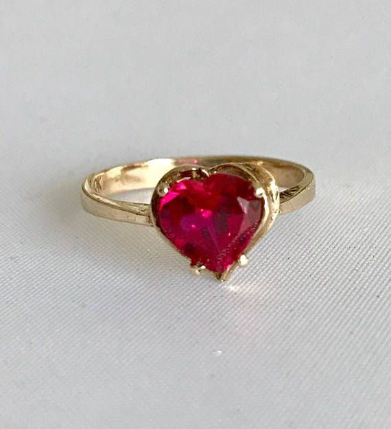 Vintage 10k Yellow Gold Ruby Heart Ring Size 6 Etsy Heart Shaped Ruby Rings Ruby Heart Ring Ruby Ring Designs