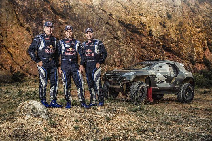 Carlos Sainz, Cyril Despres and Stephane Peterhansel pose for a portrait during the #Peugeot 2008 DKR test.
