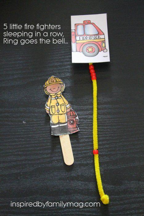 f is for fire truck - five little fire fighters rhyme, cute