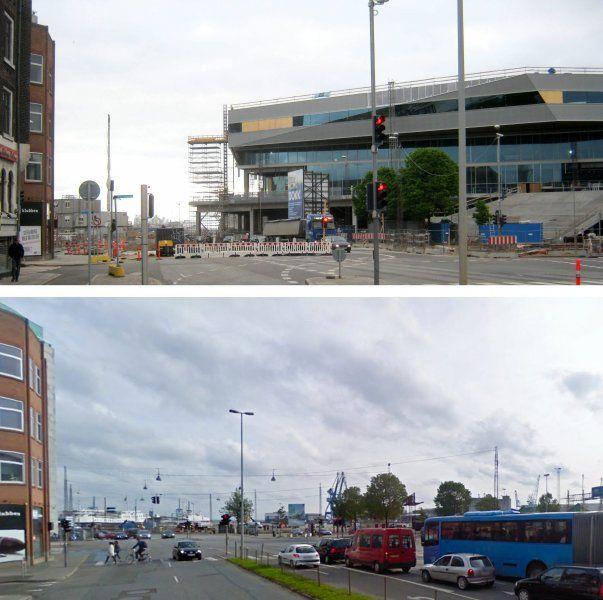 »Sigtelinjerne« med kigget fra byrummet over i havnerummet skal binde havn og by sammen. Her før og efter ved Europaplads og Dokk1. Fotografik: Kim Haugaard og Jens Nex.