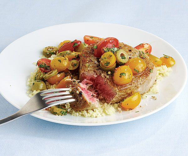 pan seared tuna steaks recipe with warm tomato, basil and olive salad