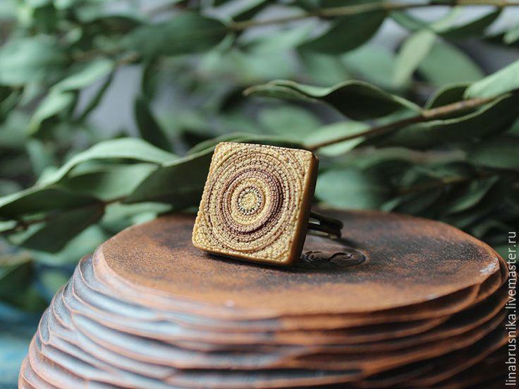 """Купить кольцо """"Карамельный пудинг"""" - бежевый, коричневый, карамель, бежевое кольцо, квадратное кольцо"""