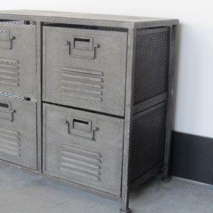 Meuble d 39 appoint en m tal 4 casiers indus hanjel salle for Meuble casier