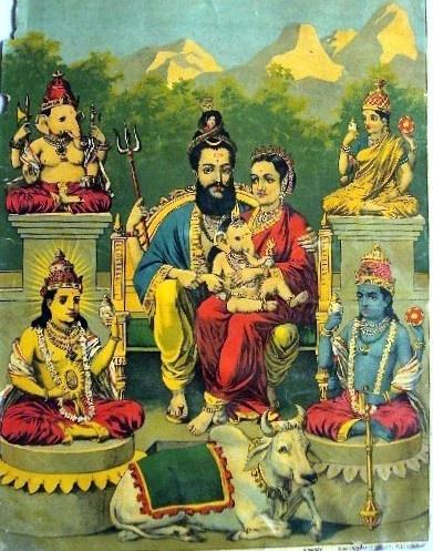 Traditional Indian Print (family of Shiva) by Raja Ravi Varma (1848–1906) via Wikipedia.