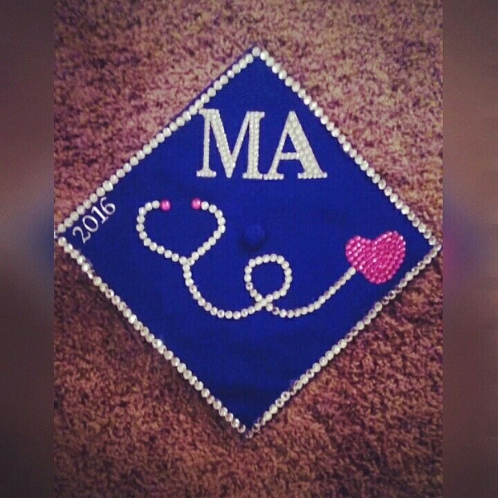 Medical assistant graduation cap decor made by