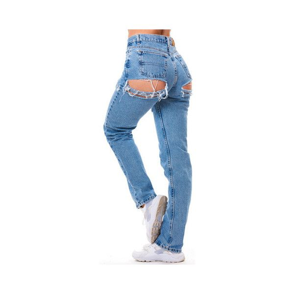 Peek Denim ($90) ❤ liked on Polyvore featuring jeans, bottoms, pants, button-fly jeans, rolled up jeans, blue jeans, denim jeans and rolled jeans