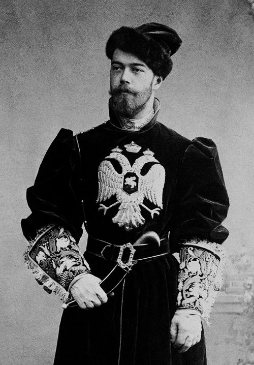 Tsesarevich Nicholas Alexandrovich as a falconer at the Count Sheremetiev's Ball of 1894