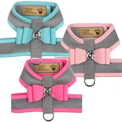 Susan Lanci Big Bow Crystal Two-Tone Dog Harness- Platinum Series at GlamourMutt