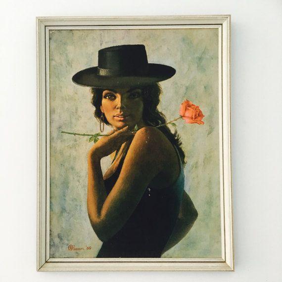 Vintage Pearson Oh Manuella  Spanish girl framed