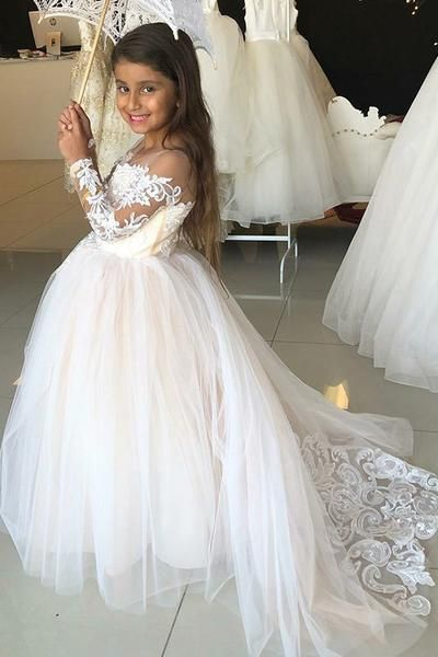 b76d4bebcd4a4 Princess A-Line Round Neck Tulle Long Sleeves Bowknot Flower Girl Dress  with Appliques PH797