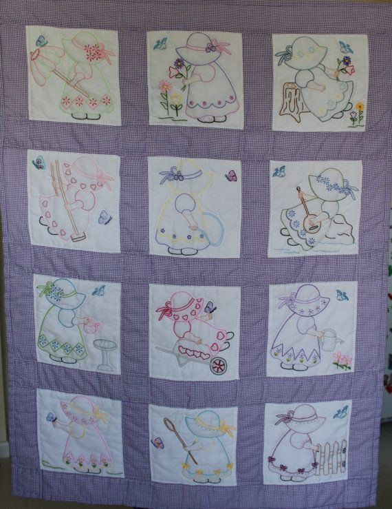 Baby Quilt Hand embroidered hand quilted by purrfectstitchers