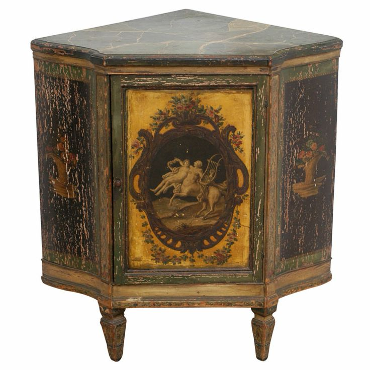 Neo-Classic Style Encoignure France Circa:1830 This Louis XVI style corner cabinet has a faux marble top and rococco painted sides and door - one shelf - brass knob on door - this piece is supported on 3 legs.