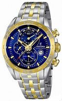 Festina Quartz Chronograph Blue Dial Date Two Tone Stainless Steel Watch #F16655/3 (Men Watch)