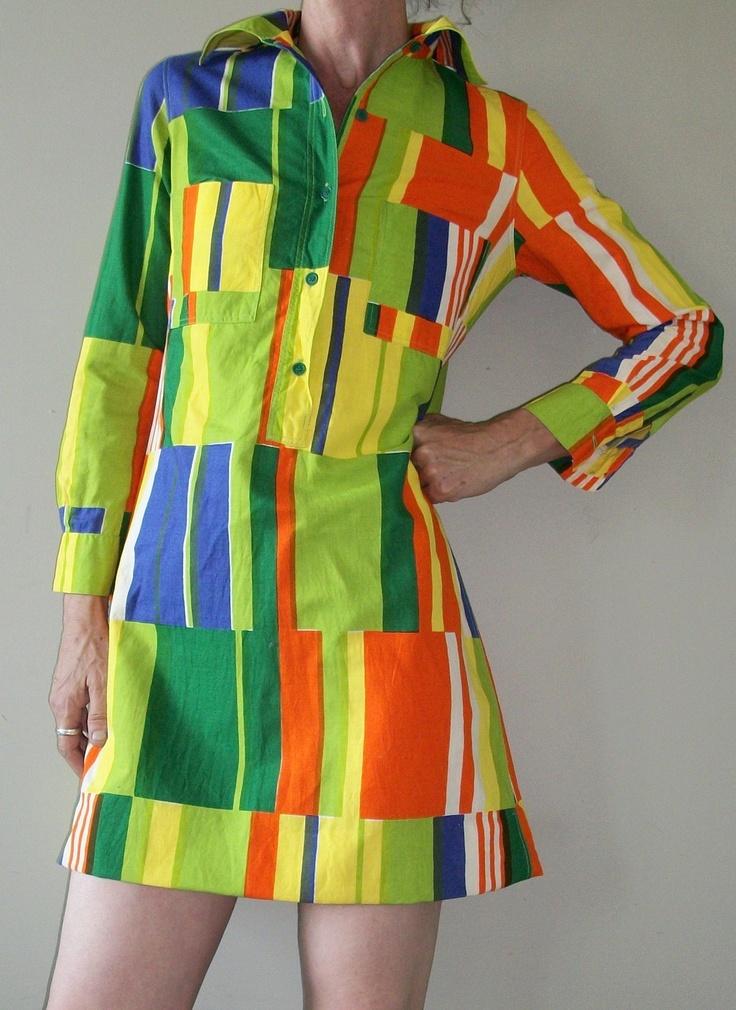 1973 design research Marimekko Neimans cotton shirt dress