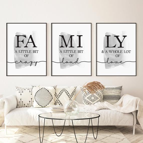 Living Room Prints Set Of 3 Family Prints Set Family Little Etsy In 2020 Living Room Prints Family Room Wall Art Family Room Walls
