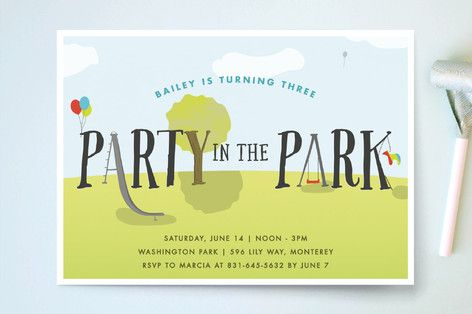 Party In The Park Children's Birthday Party Invitations by Ellis at minted.com