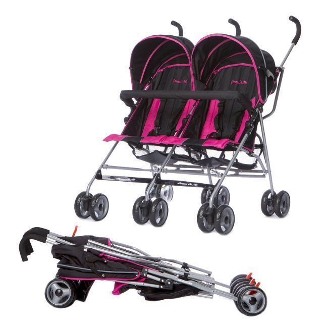 Baby Stroller Twins Two Seater Girls Kids Double Reclining Folding Canopy Pink #DreamOnMe