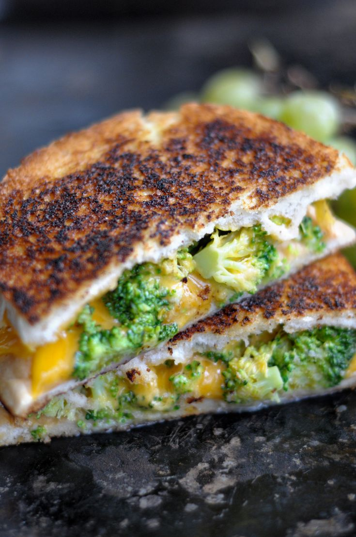 Broccoli cheddar grilled cheese sandwich
