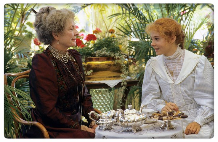 Anne of Green Gables film still. Anne having tea.