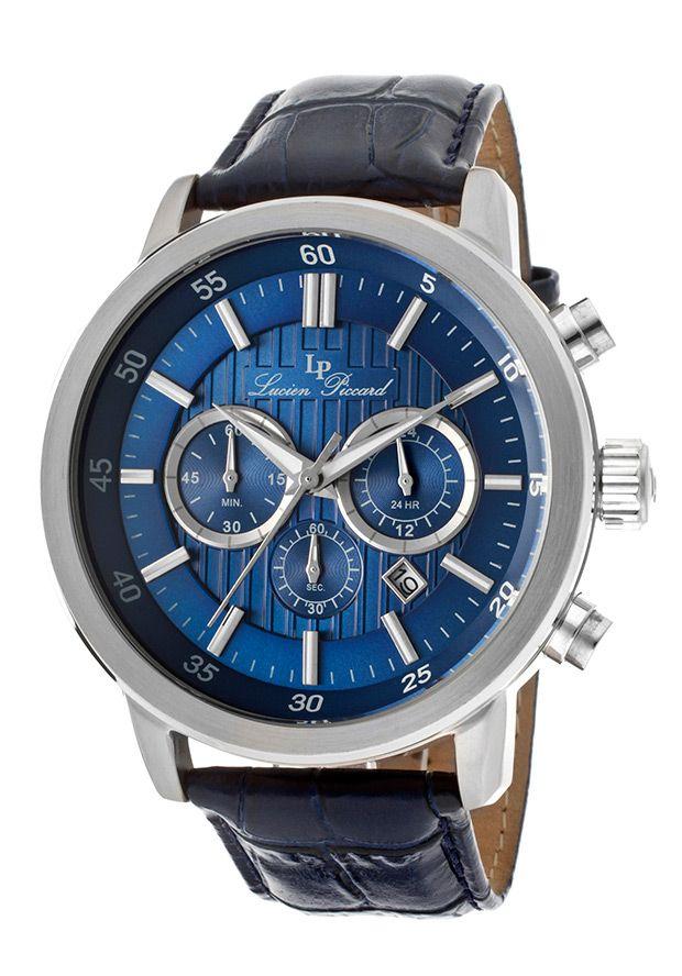 Lucien Piccard Monte Viso Chrono Black Genuine Leather Blue DialLucien Piccard 12011-03 Watch