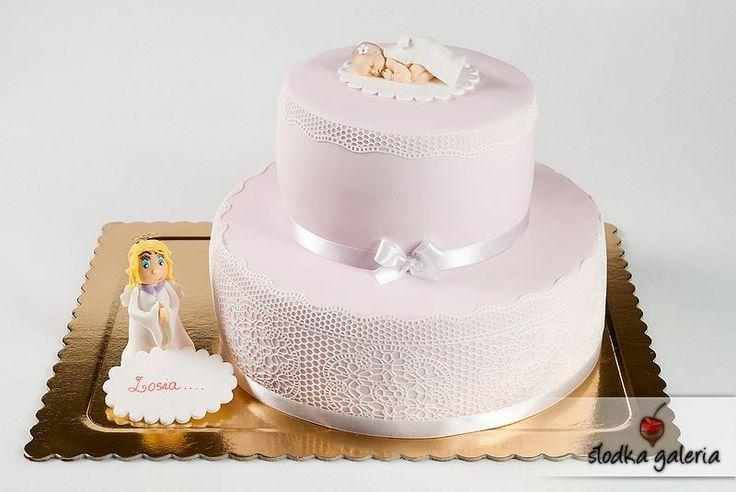 Tort na chrzest - Aniołek Zosi
