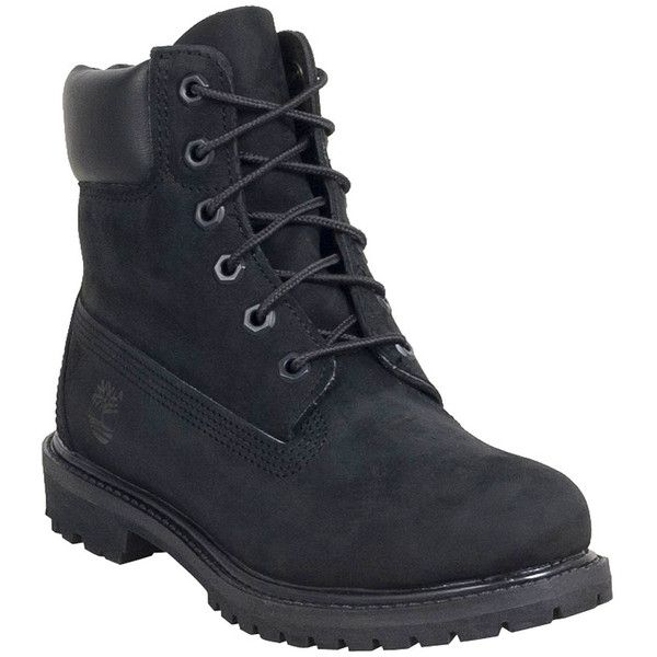 Timberland Women's 6-Inch Premium Waterproof Boot ($160) ❤ liked on Polyvore featuring shoes, boots, black, waterproof boots, light weight work boots, waterproof shoes, lightweight waterproof shoes and black waterproof boots