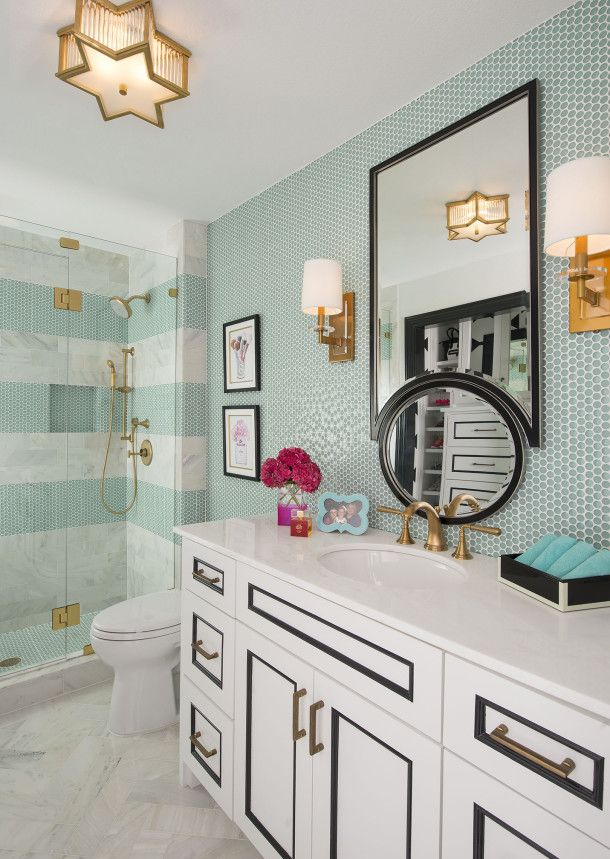 pictures to hang in master bathroom%0A Kate Spade inspired bathroom by IBB design