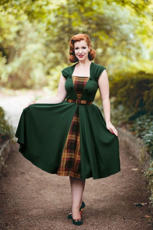 Miss Candyfloss Ella Green Checked Swing Dress 102 40 19343 20160913 1