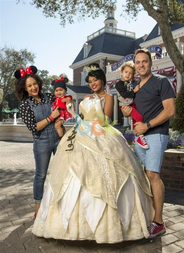 The Real talk show co-host Tamera Mowry-Housley and her family met Princess Tiana at Walt Disney World in Lake Buena Vista, Florida