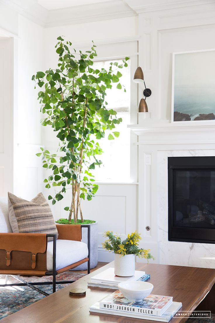 we love the look of large scale greenery and trees in a living space rh pinterest ch  decorating ideas for a large living room wall