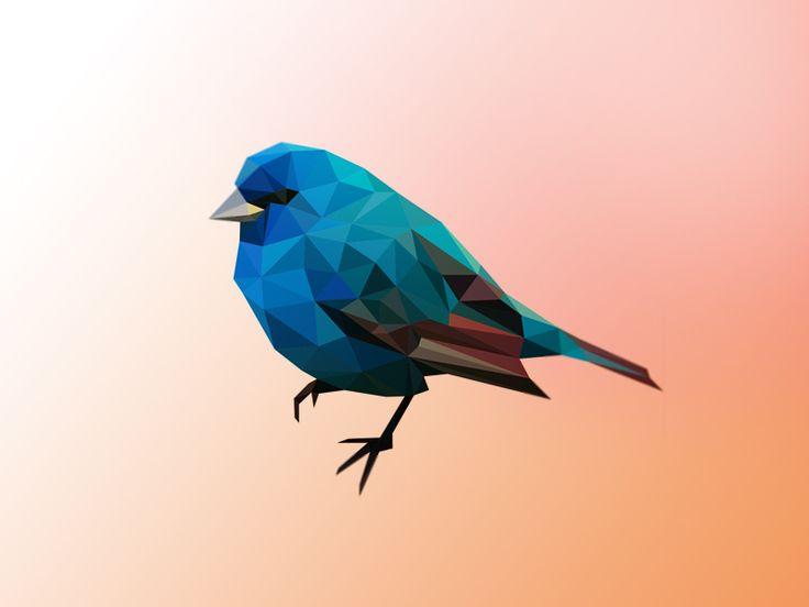 Blue poly bird