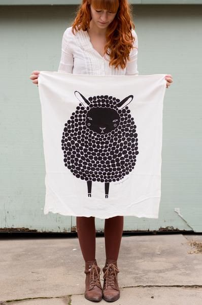 Illustrated Sheep tea towel by Gingiber; detail view