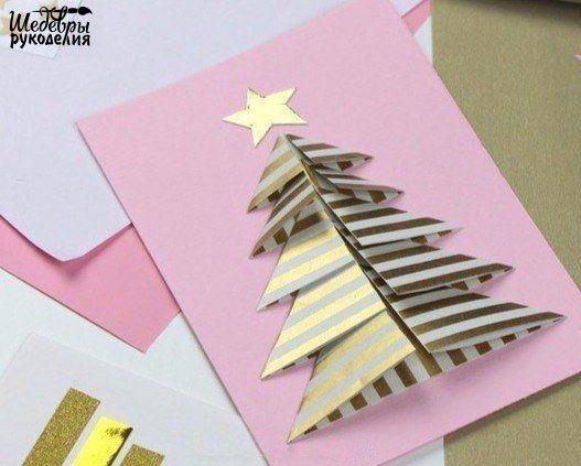 Новогодняя открытка с ёлкой своими руками