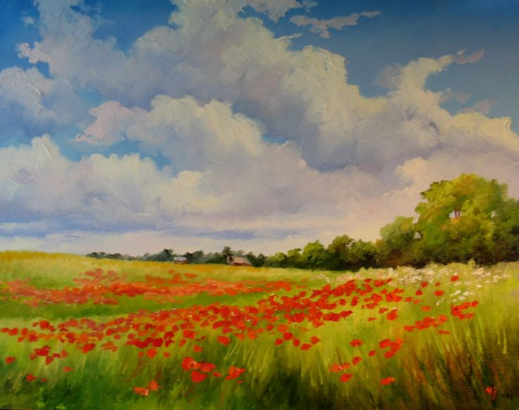 Nel's Everyday Painting: Poppy Field, Summer Sky - SOLD