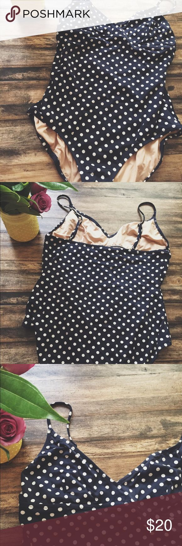 J. Crew Polka Dot One Piece Swimsuit Bought this a couple of seasons ago and only wore twice. It's in great condition and has a ton of life left in it. For reference I wear 36DDD and this fits perfectly. J. Crew Swim One Pieces