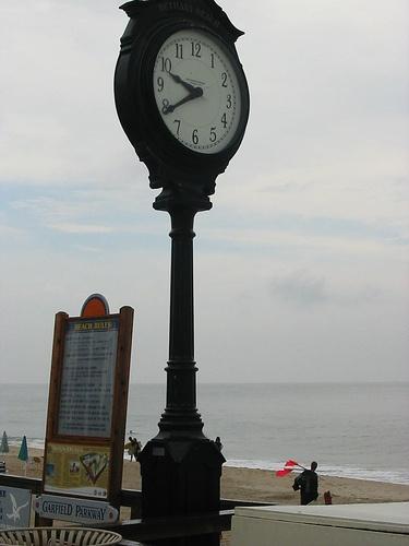 Clock at Bethany Beach boardwalk.