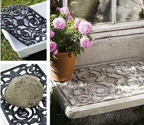 Using a door mat for imprint on concrete. Think of the garden stepping stones that could be created. Something I could do with the granddaughters too.