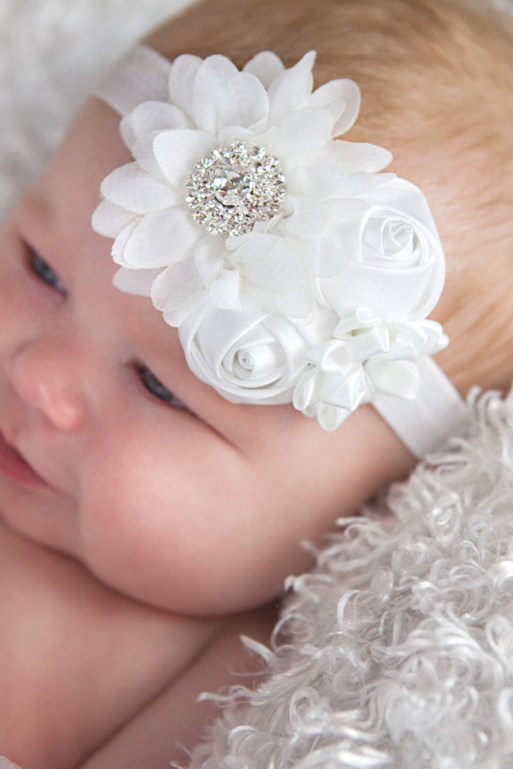 White headband Girl Headband Baby girl by BabyBloomzBoutique, $10.95