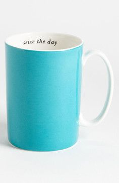 Kate Spade New York Say the Word - Seize the Day Porcelain Mug, Turquoise/Aqua modern cups and glassware